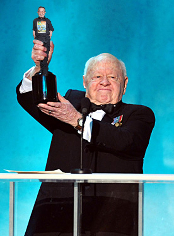 Actor Mickey Rooney on stage at the TNT/TBS broadcast of the 14t
