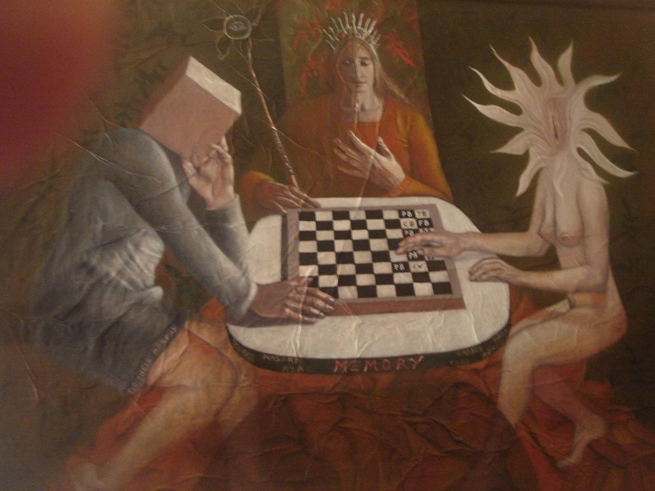 Huile sur toile de Mylène Besson, 130x190 cm . Croquis: Arrabal
