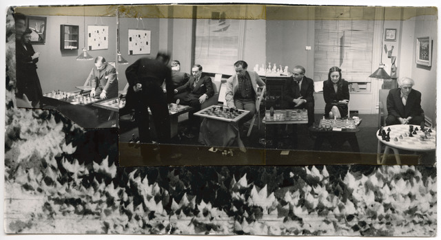 chess-tournament-at-julien-levy-gallery-january-6th-1945-collage-by-dorothea-tanning-with-three-photographs-by-julien-levy