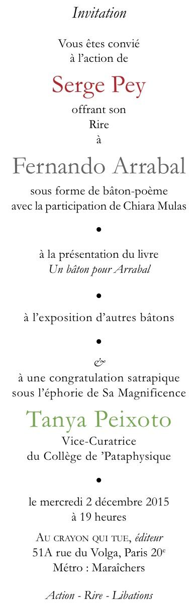 Invitation de Serge Pey
