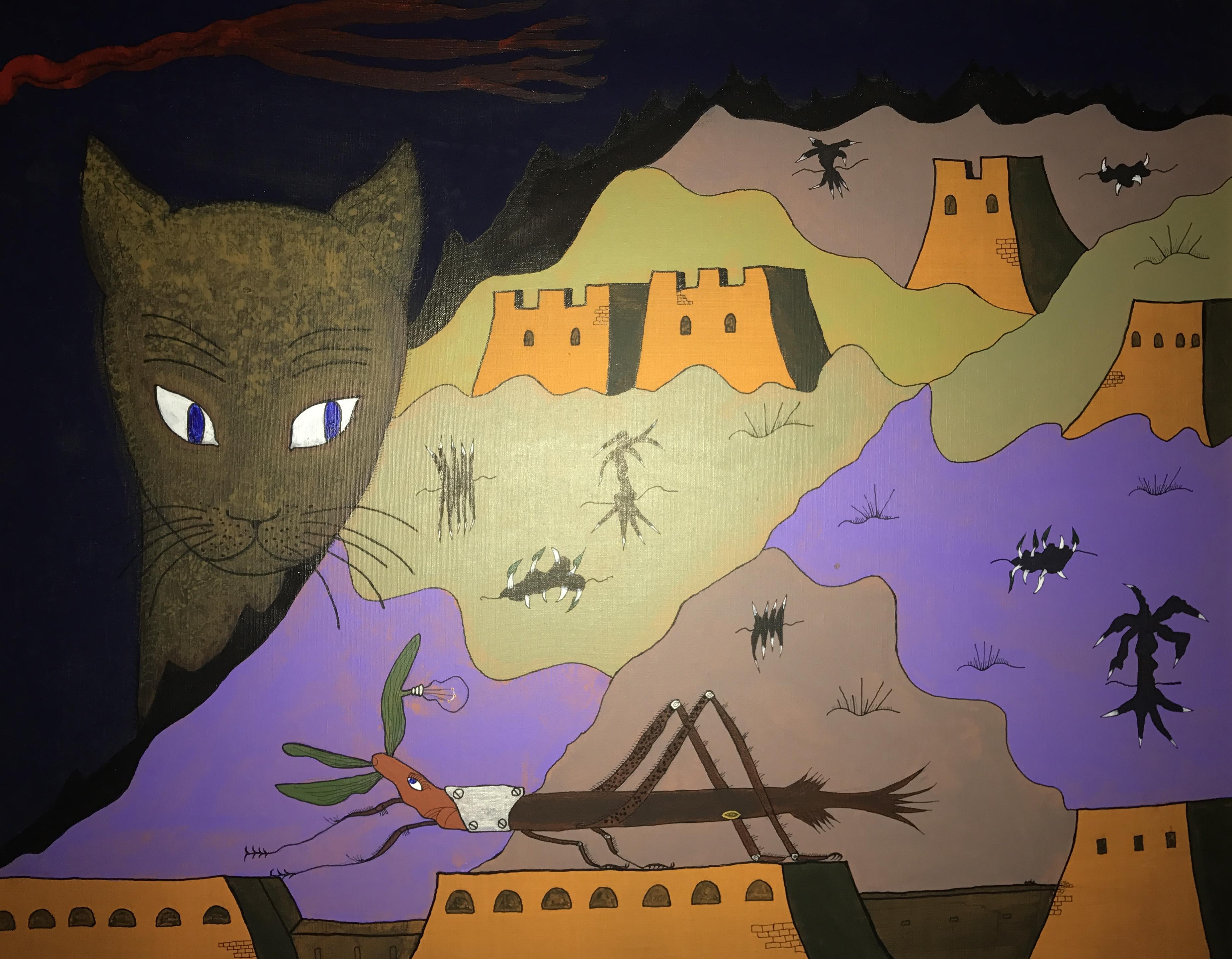 Tableau acrylique (65 x 81 cm) de Fernando Arrabal, 1985
