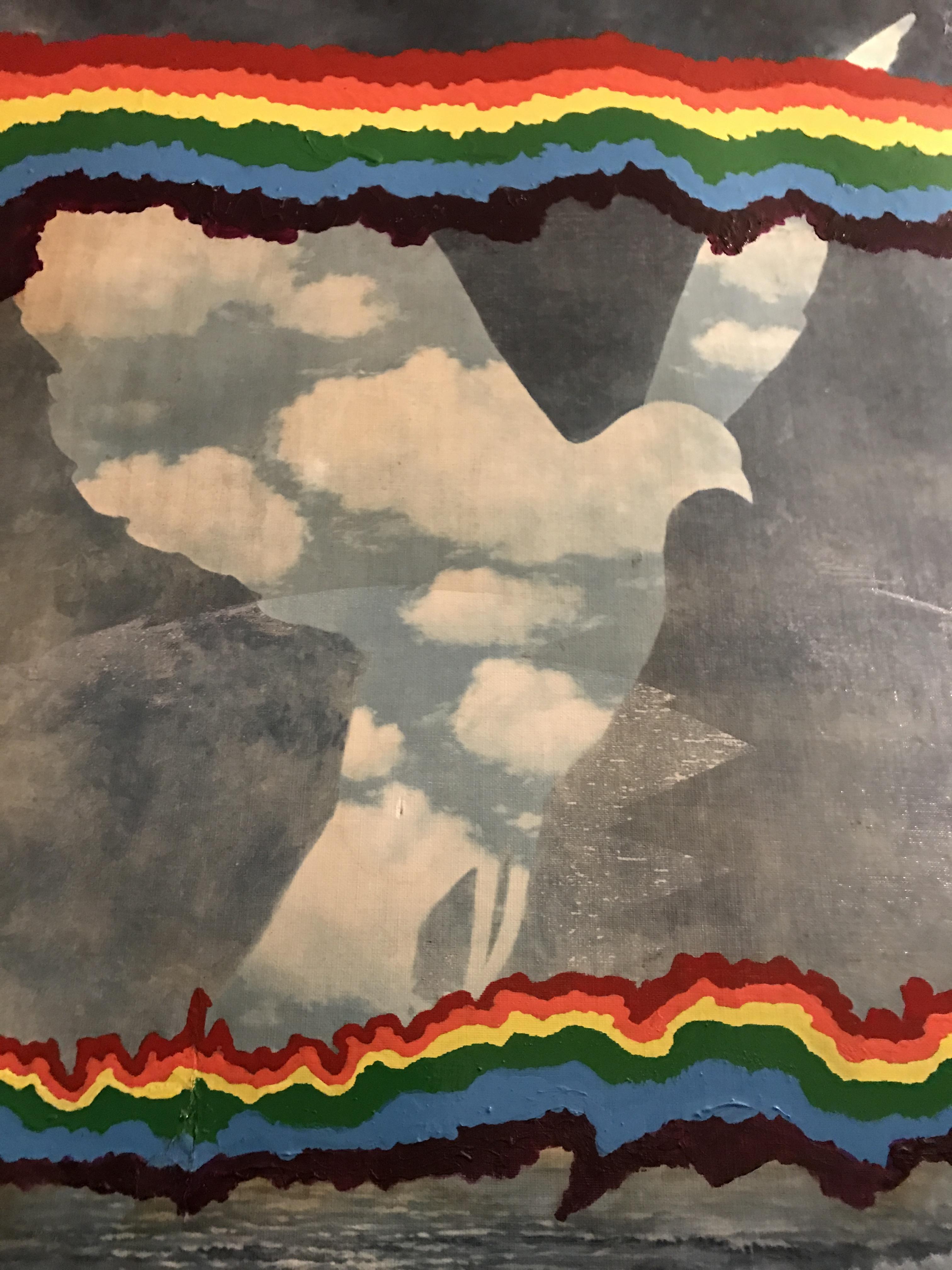 Huile sur toile de René Magritte & Fernando Arrabal, au double arc-en-ciel.