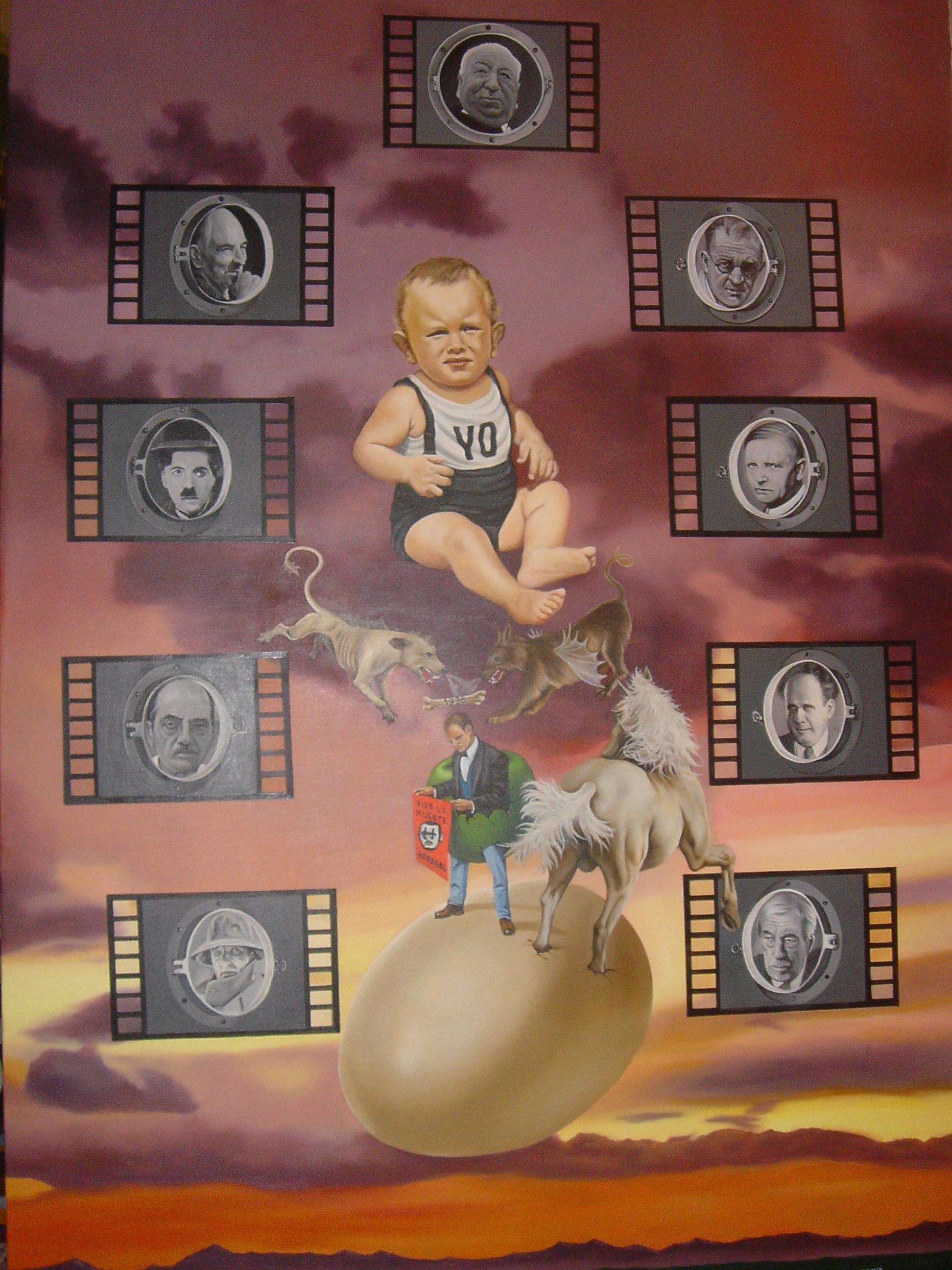 «El gran cine planetario», óleo sobre lienzo boceto de Fernando Arrabal.