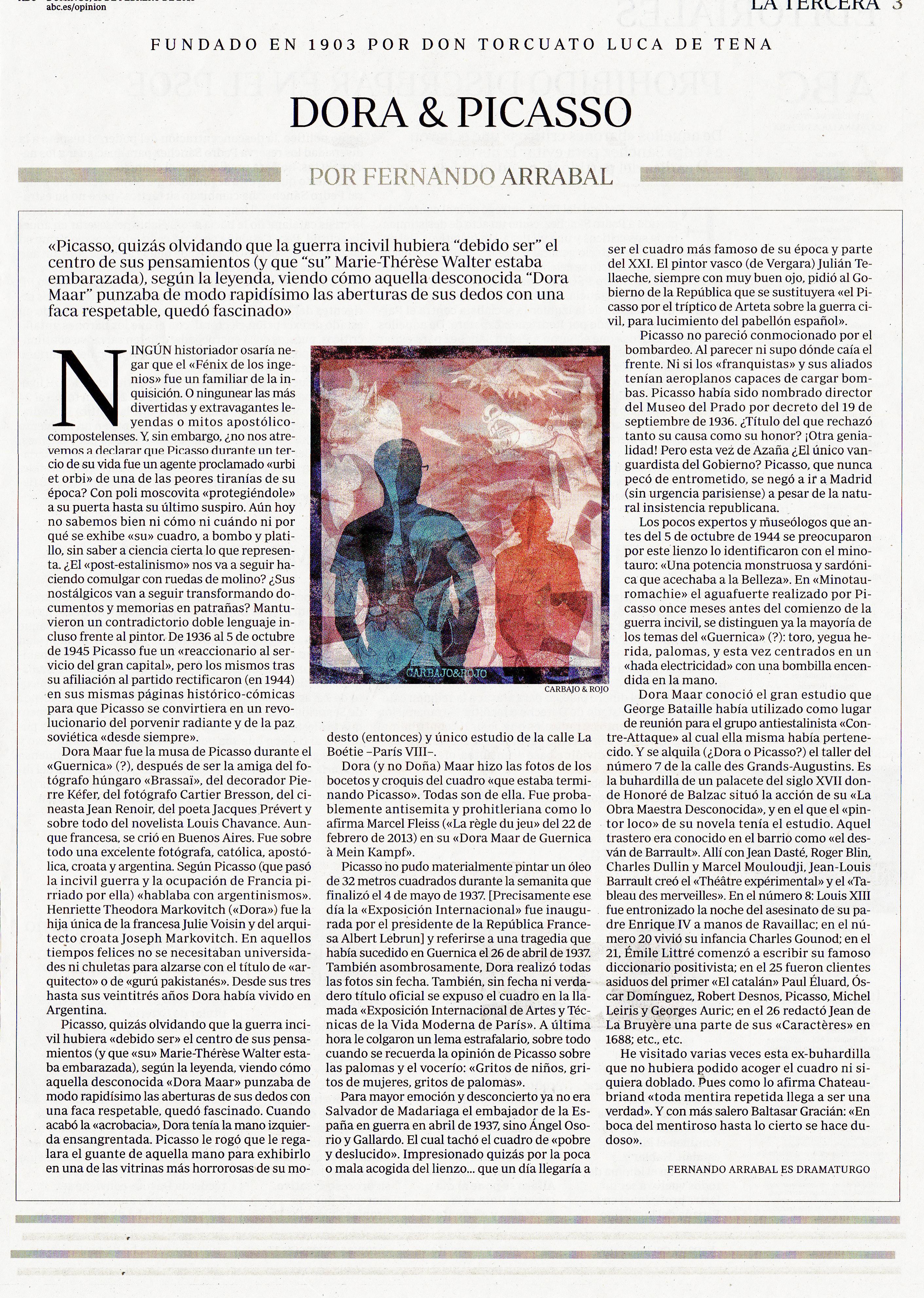 Troisième page du journal espagnol ABC, 18/02/2018.