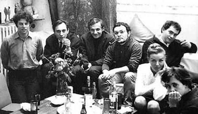 En 1969Jodorowsky, Topor y Arrabal con tres amigos.