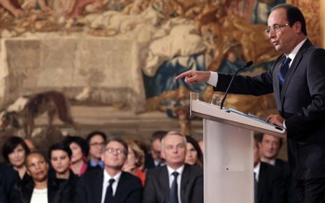 Francois Hollande, lors de la conférence de presse à l'Elysée, le mardi 13 novembre 2012.