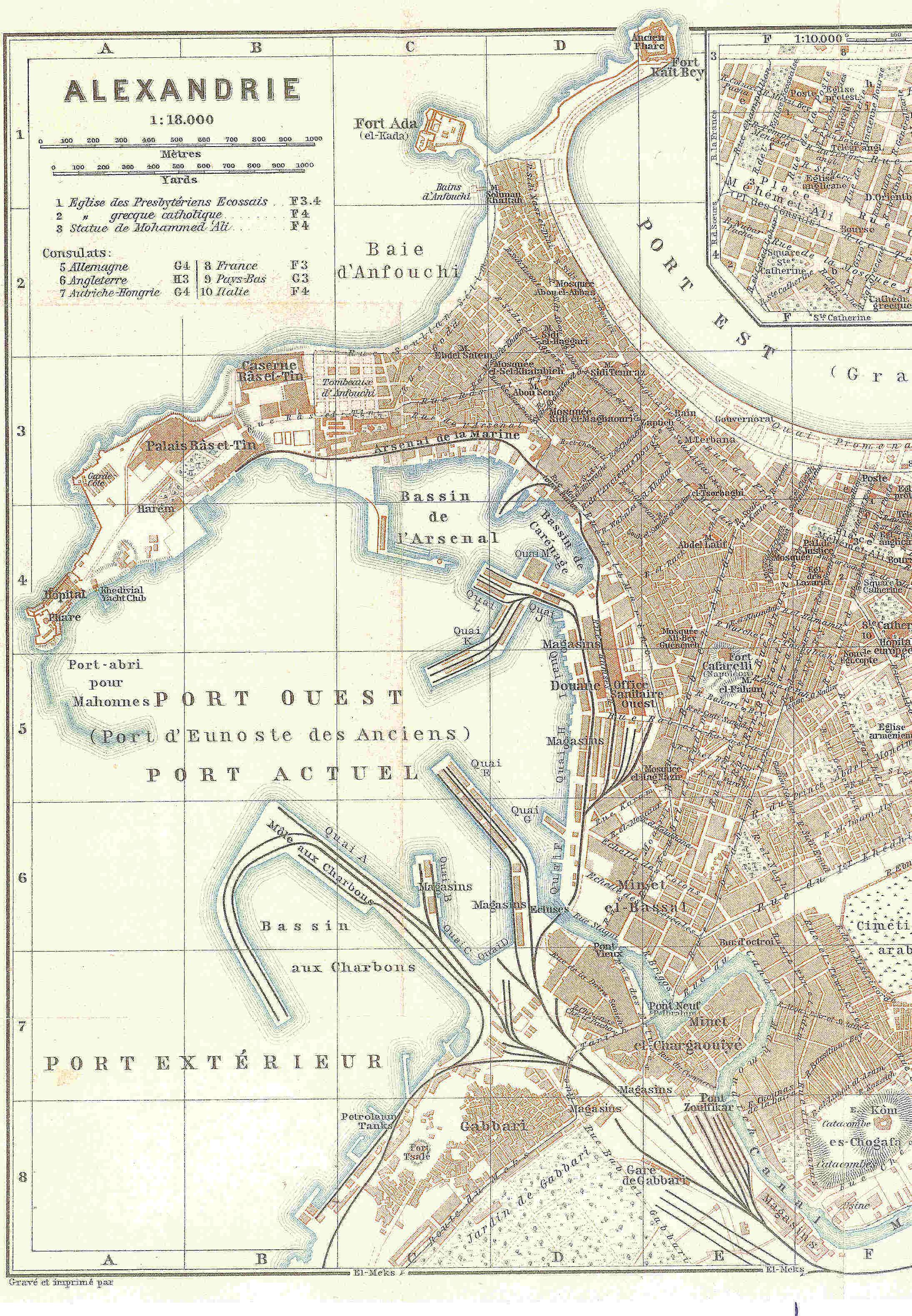Plan de la ville d'Alexandrie (Baedeker's guide book, 1913)