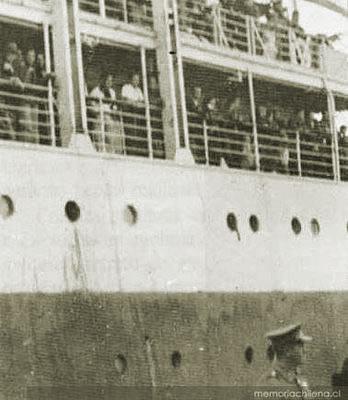 Le Winnipeg accoste au Chili en 1939