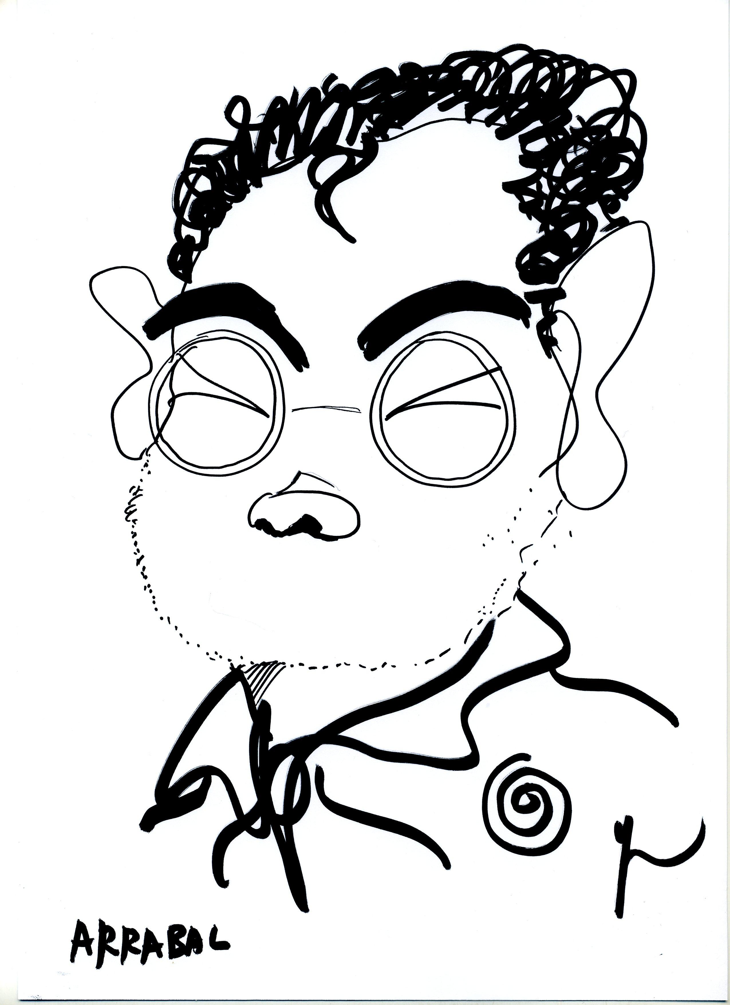 Portrait de Fernando Arrabal dessiné par Yann Moix