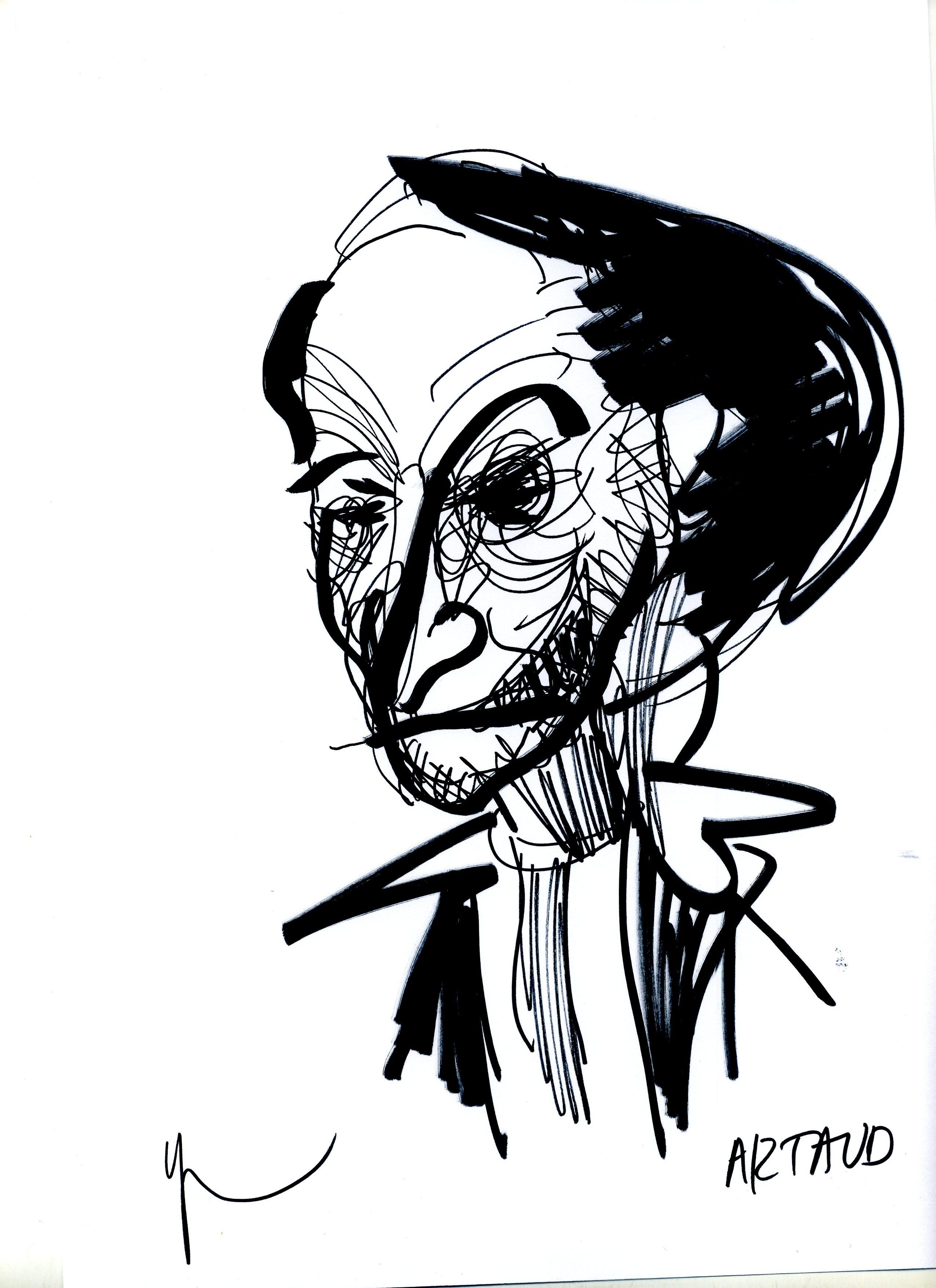 Portrait d'Antonin Artaud dessiné par Yann Moix