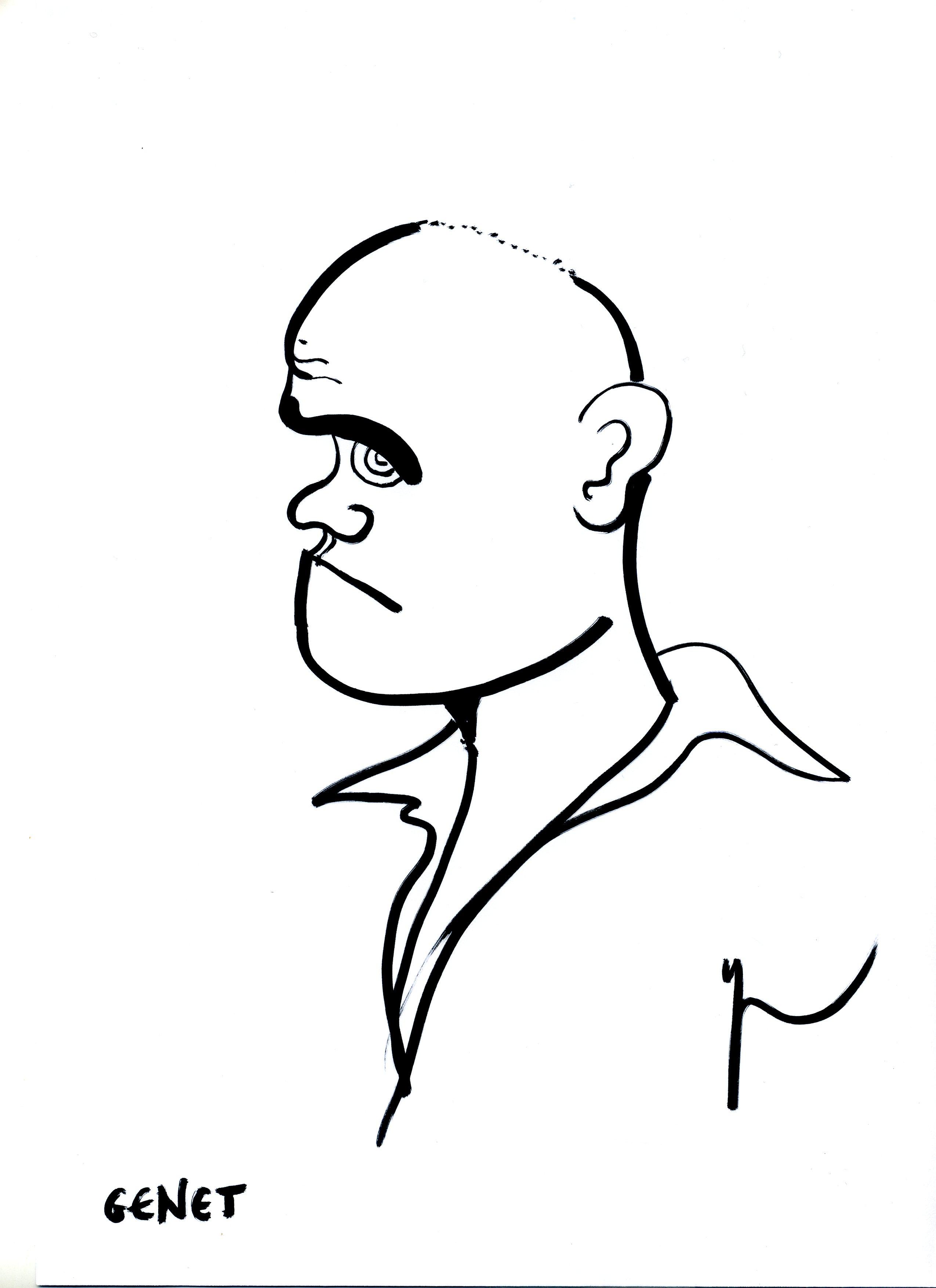 Portrait de Jean Genet dessiné par Yann Moix