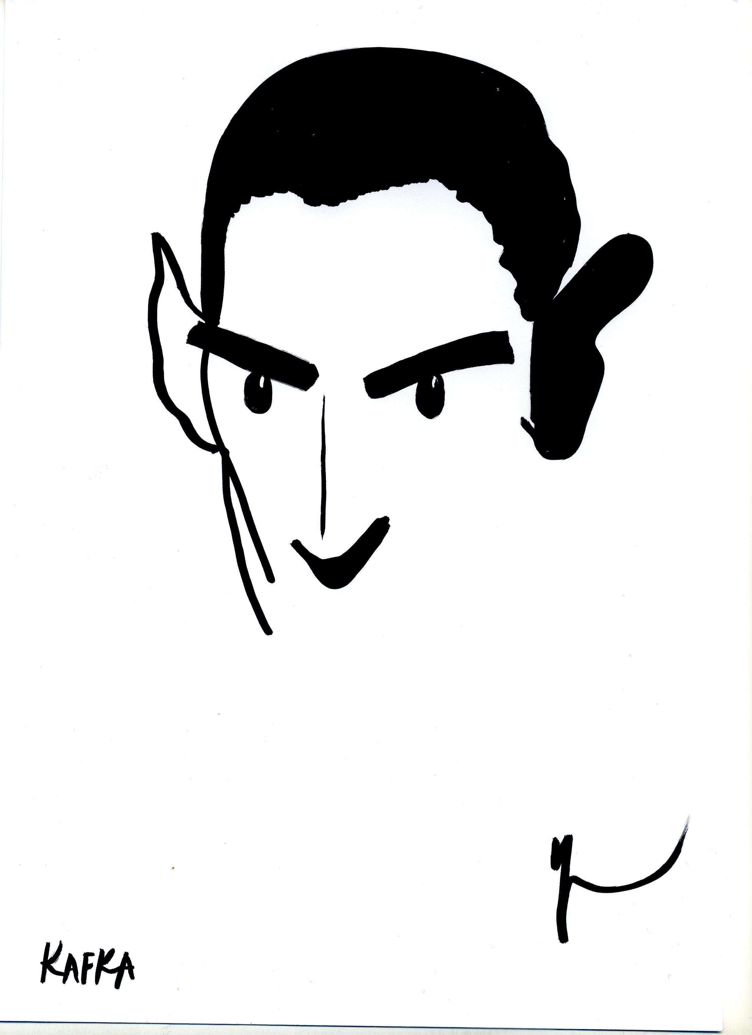 Portrait de Franz Kafka dessiné par Yann Moix