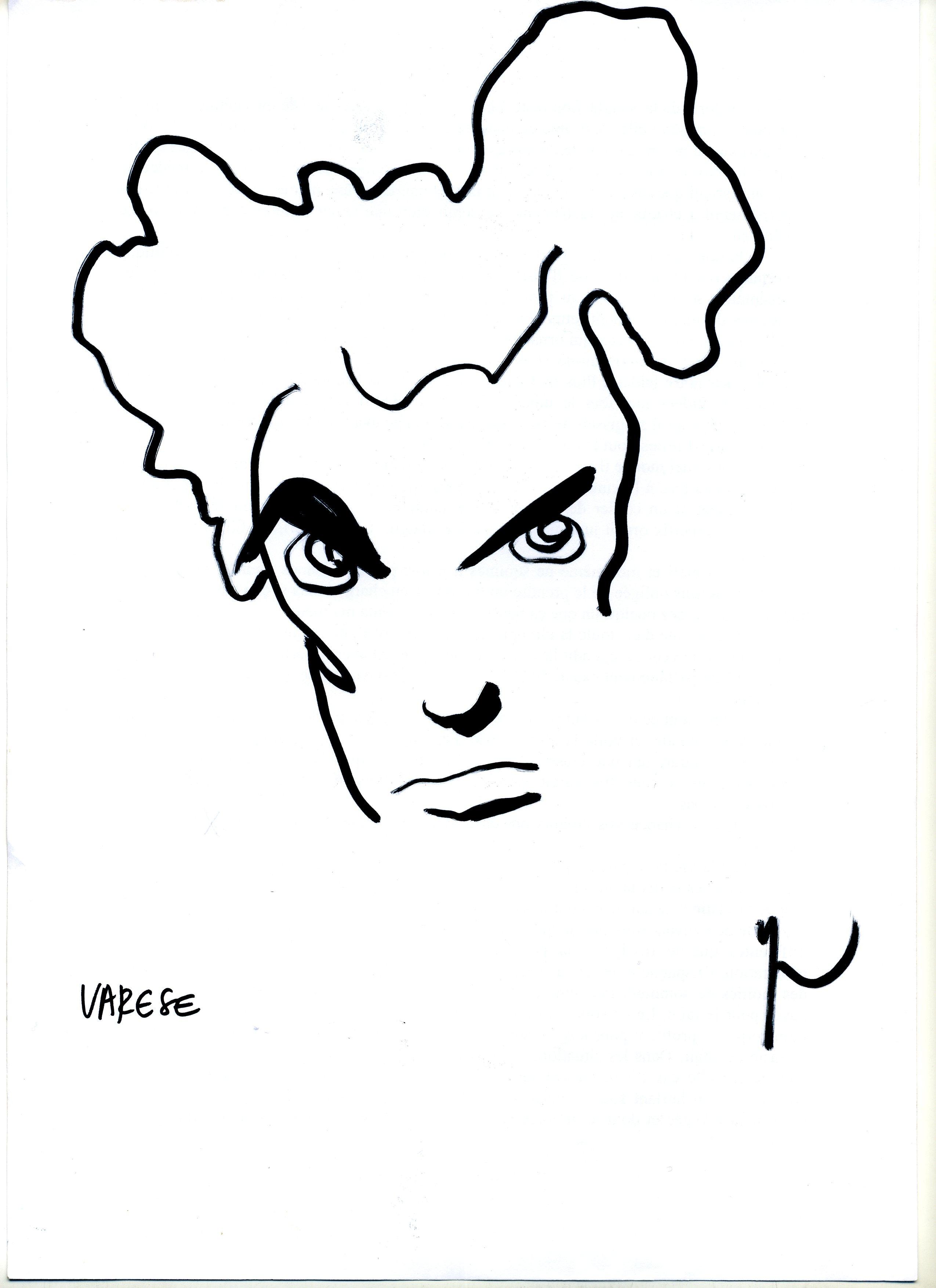 Portrait d'Edgar Varèse dessiné par Yann Moix