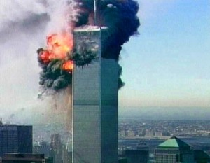 A ball of fire explodes from one of the towers at the World Trade Center in New York after a plane crashed into it in this image made from television Tuesday Sept. 11, 2001. The aircraft was the second to fly into the tower Tuesday morning. (AP Photo/ABC via APTN)   TV OUT  NO CBC  NO SALES