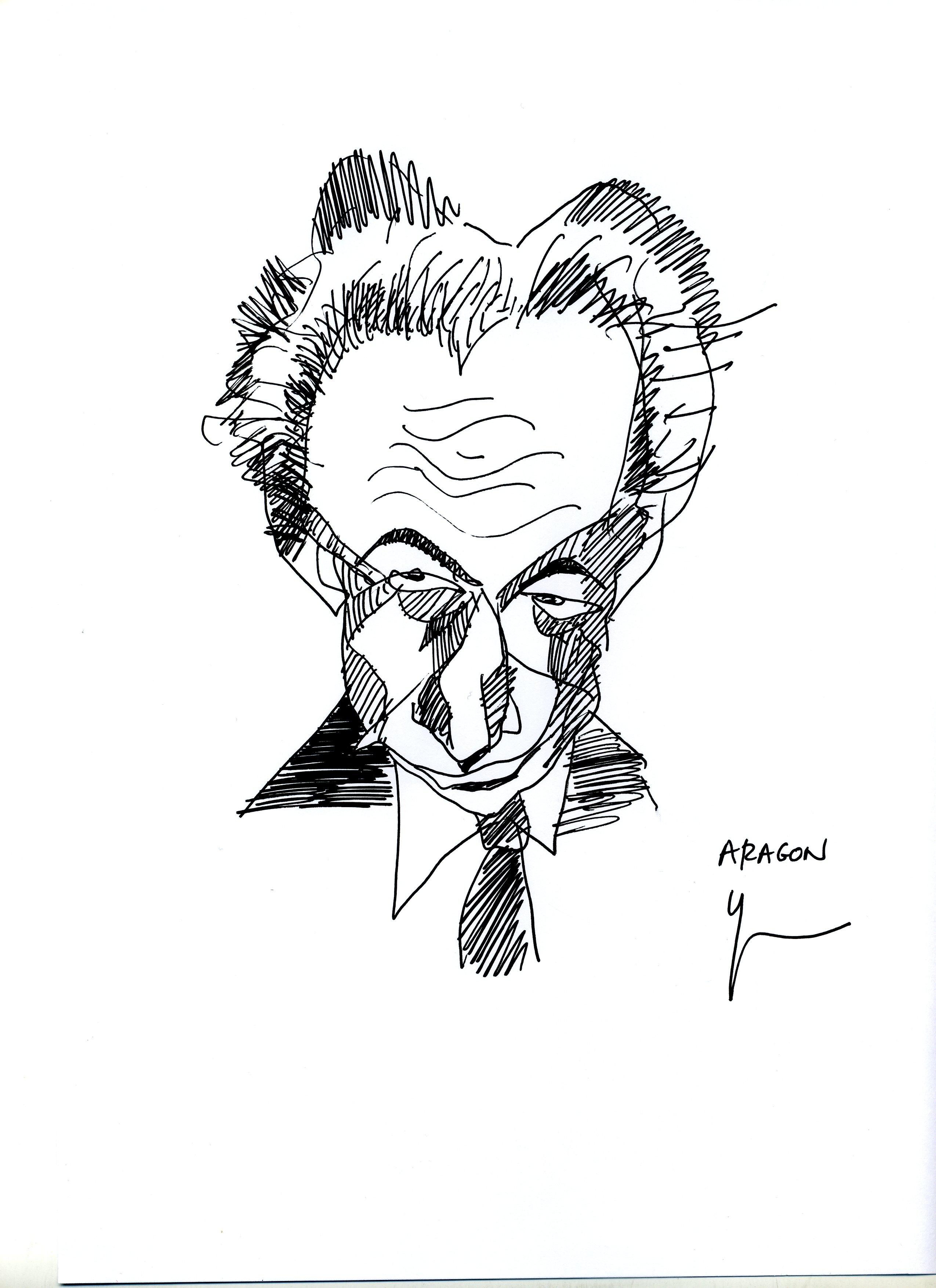 Portrait d'Aragon dessiné par Yann Moix