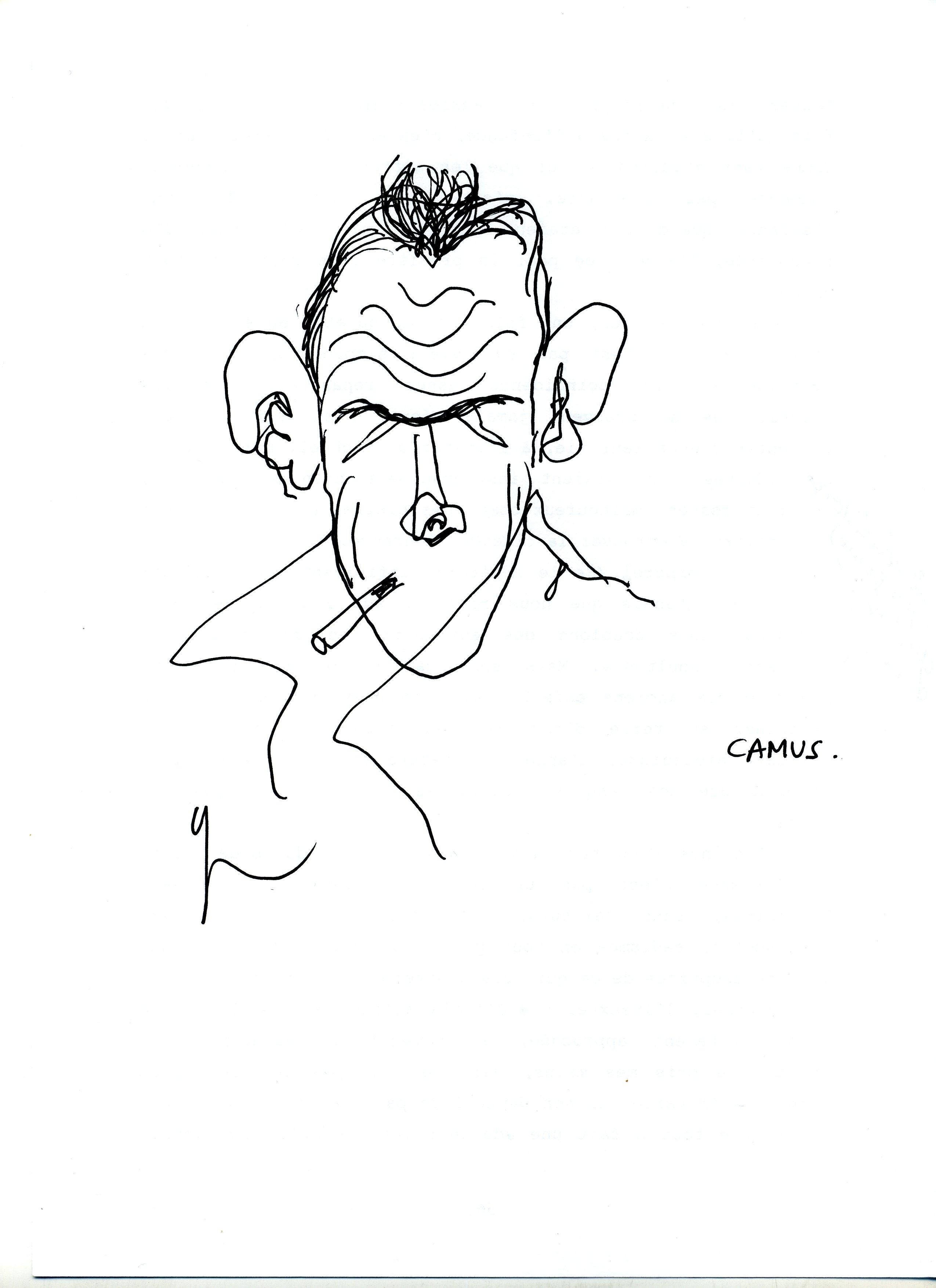 Portrait de Albert Camus dessiné par Yann Moix