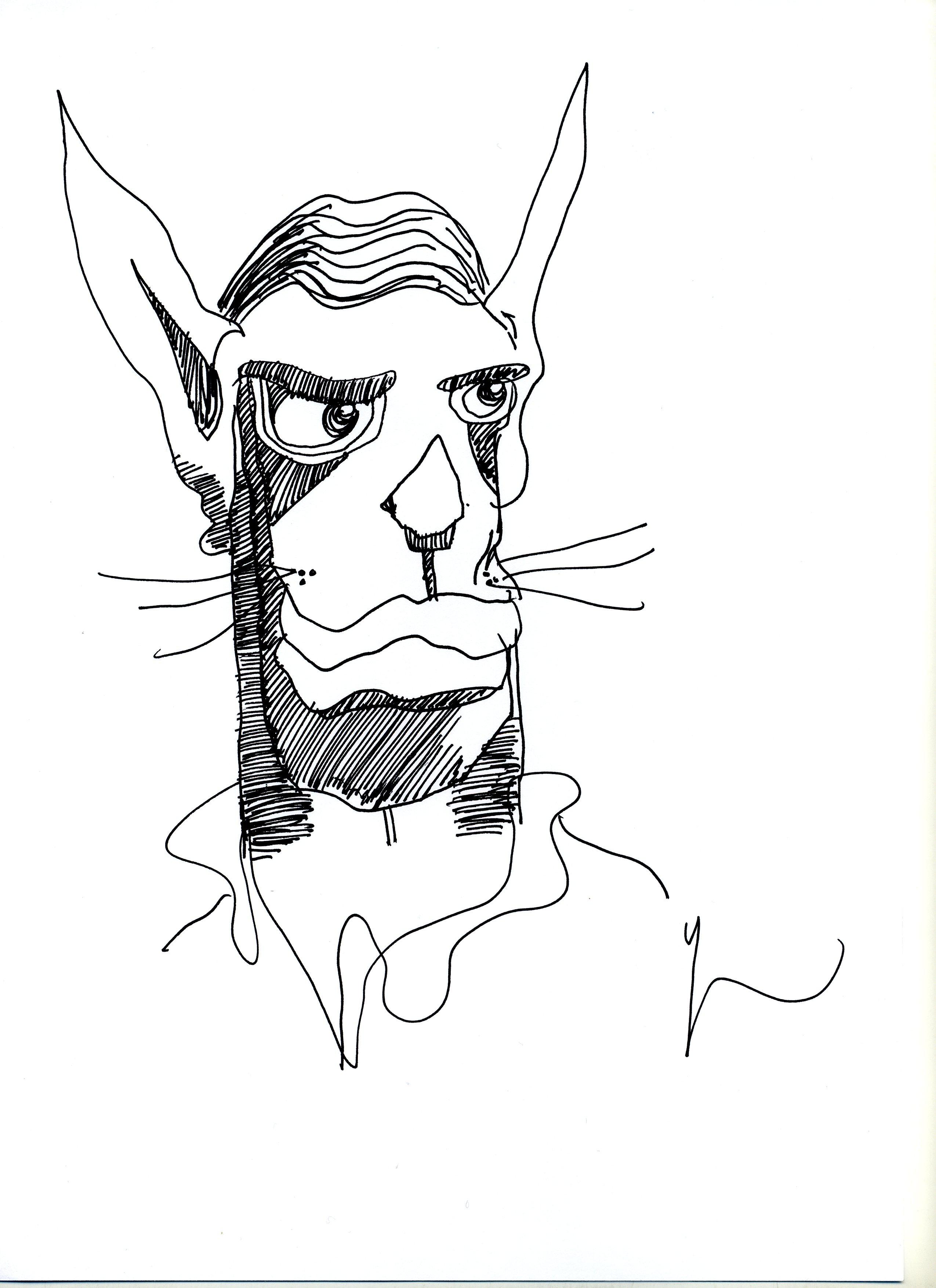 Portrait de Chat Humain dessiné par Yann Moix