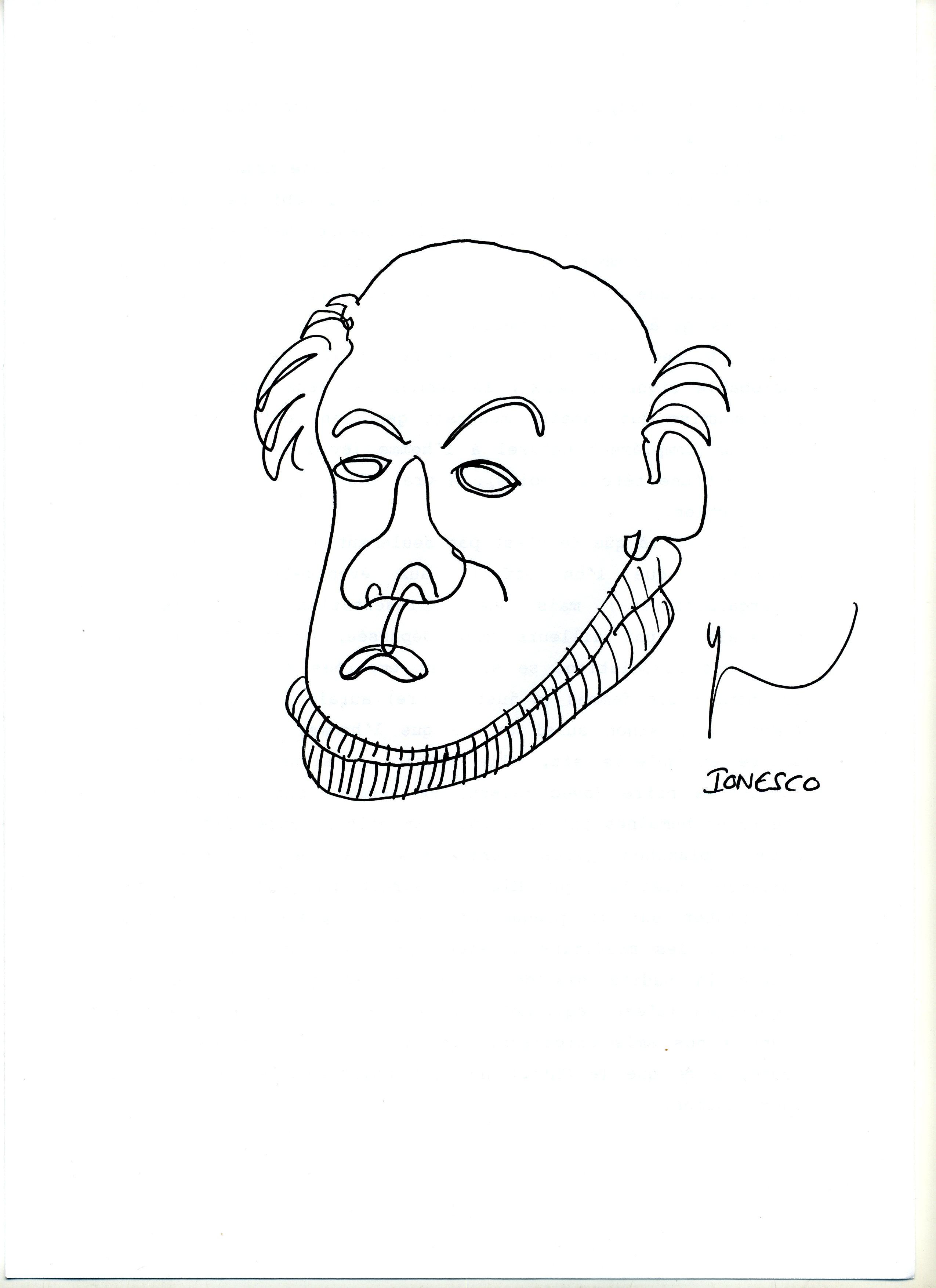 Portrait de Eugène Ionesco dessiné par Yann Moix