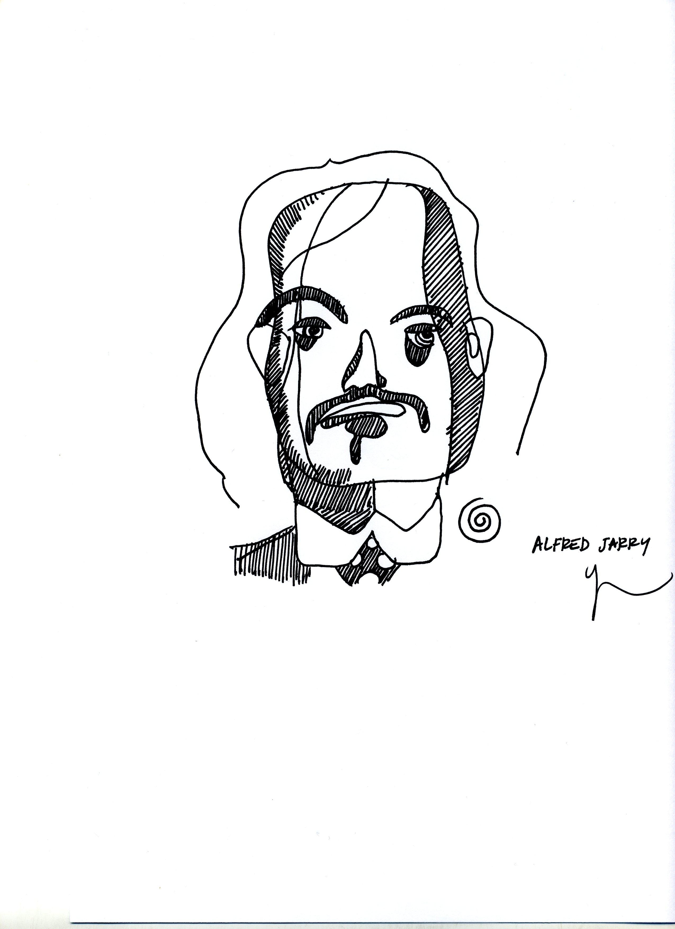Portrait d'Alfred Jarry dessiné par Yann Moix
