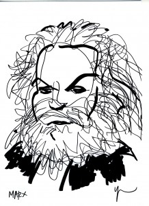 Portrait de Karl Marx dessiné par Yann Moix