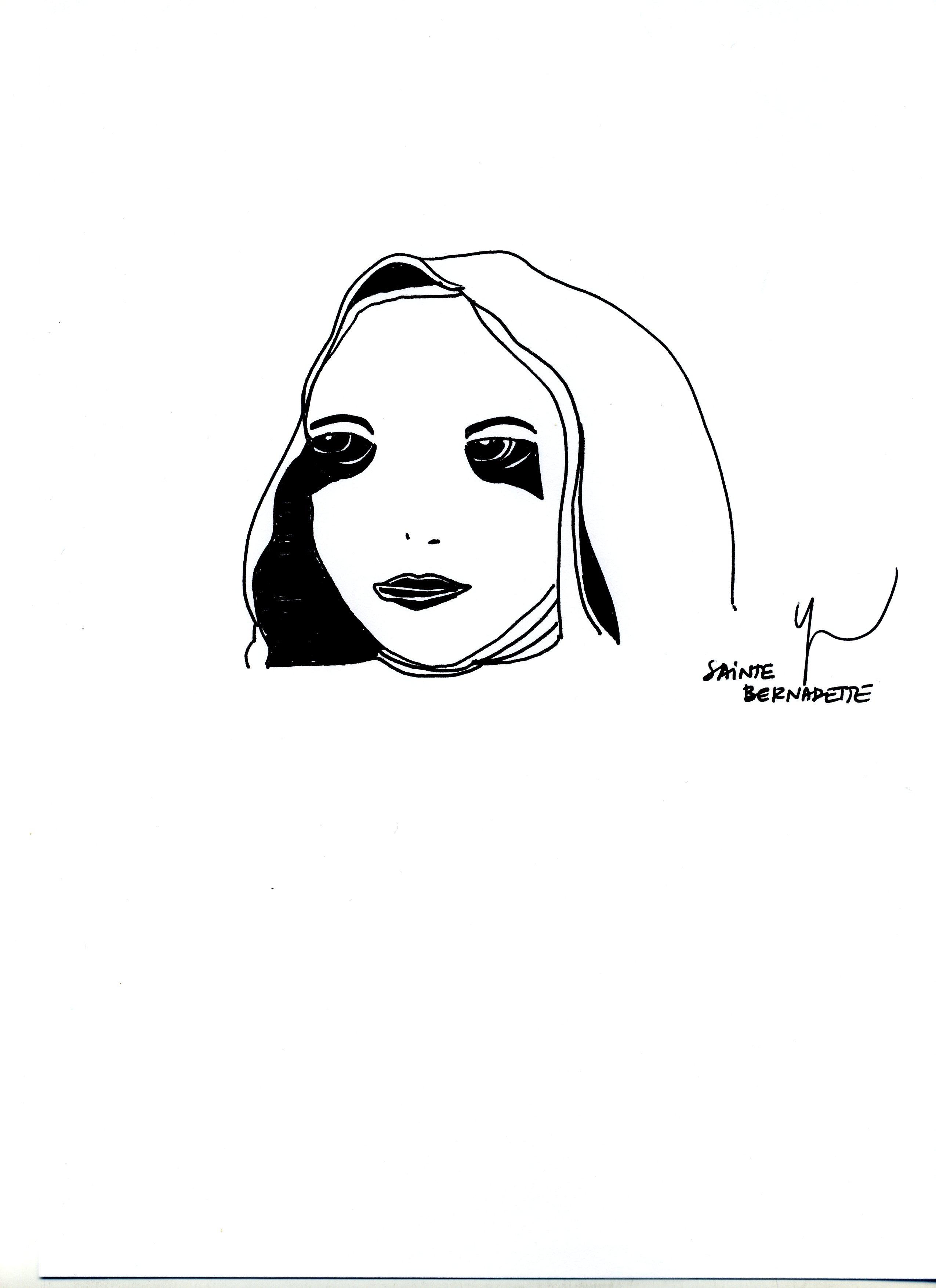 Portrait de Sainte Bernadette dessiné par Yann Moix