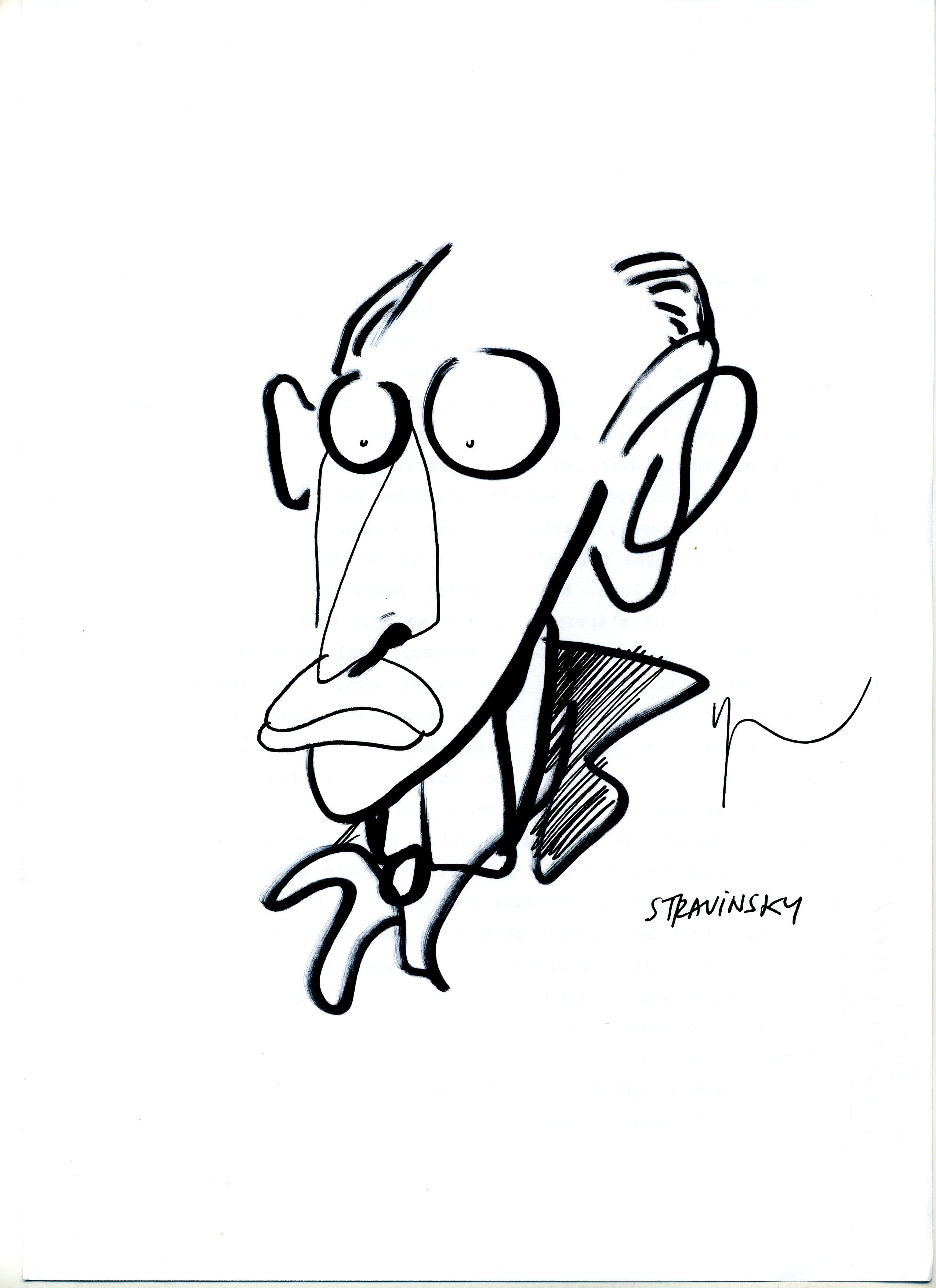 Portrait de Igor Stravinski dessiné par Yann Moix