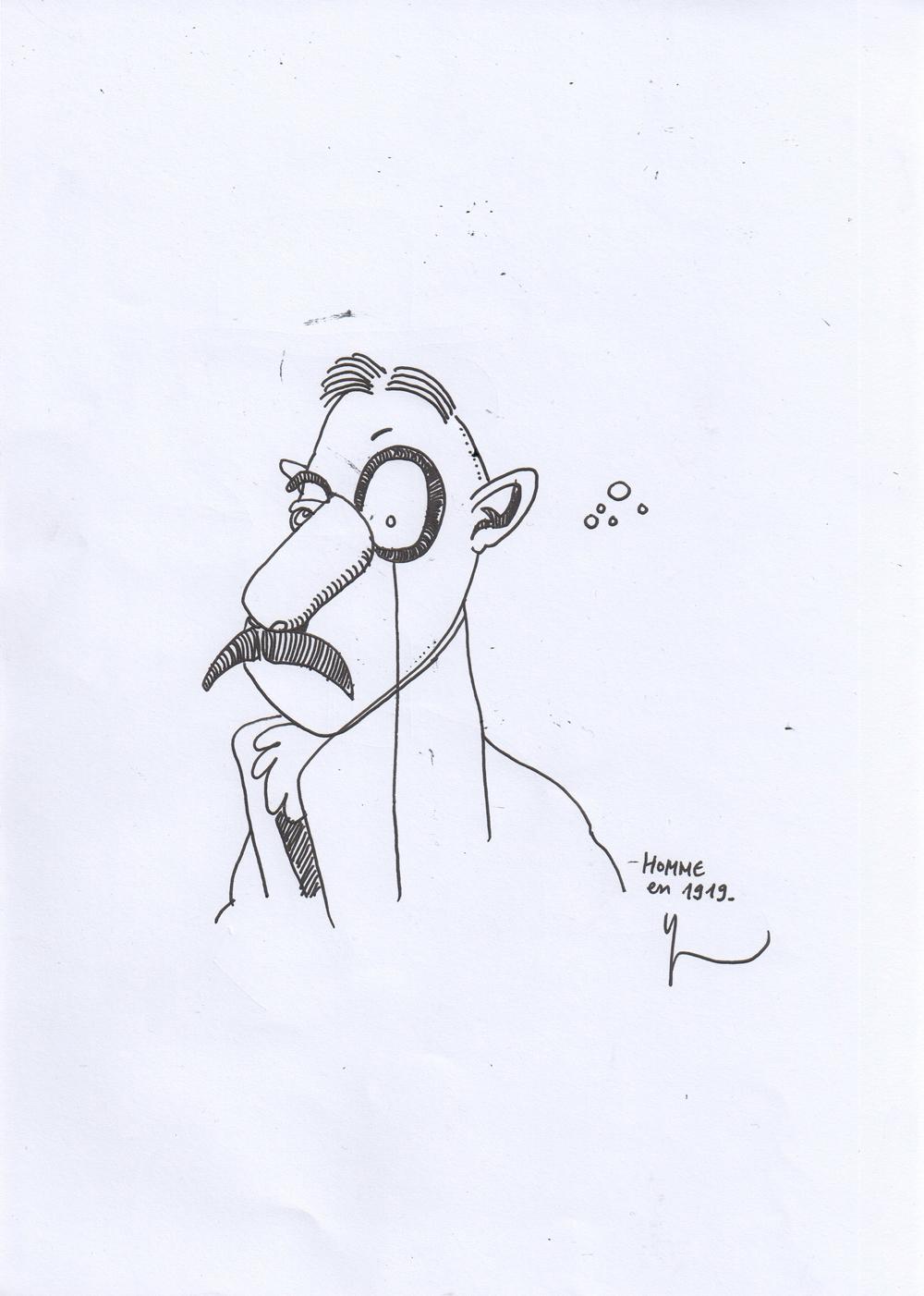 Homme en 1919, dessiné par Yann Moix