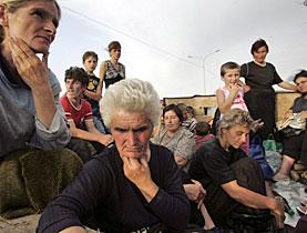 Géorgiens fuyant les troubles