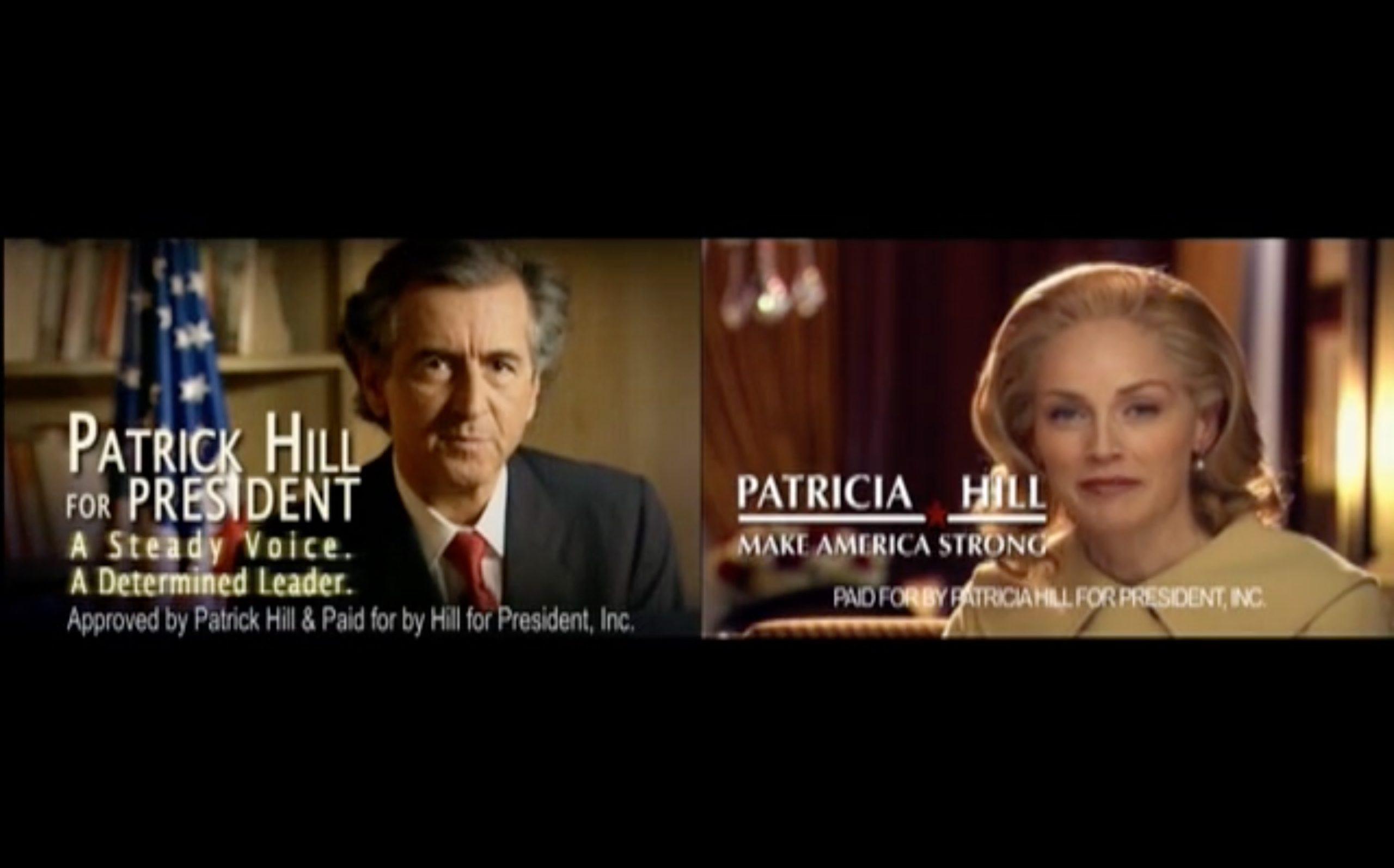 Bernard-Henri Lévy et Sharon Stone interprètent des candidats à la présidentielle américaine.
