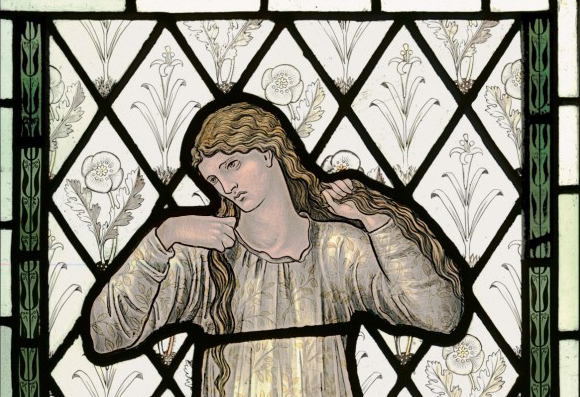 Edward Burne‑Jones (1833 - 1898) Elaine, 1870 Manufactured by Morris & Co. Stained and painted glass (détail), 86,3 x 51,4 cm Victoria and Albert Museum, London, Bequeathed by J.R. Holliday ©V&A Images/Victoria and Albert Museum, London