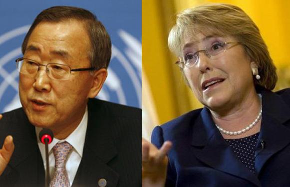 Ban Ki-Moon et Michelle Bachelet