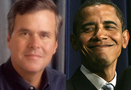 Jeb Bush et Barack Obama