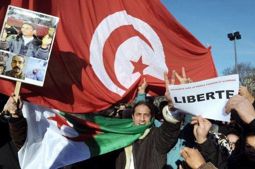 Manifestation à Lyon le 15 janvier 2011 pour célébrer la chute du président tunisien Zine El Abidine Ben Ali.