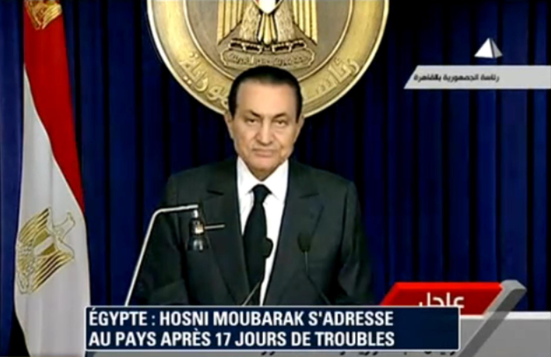 Moubarak lors de son discours hier.