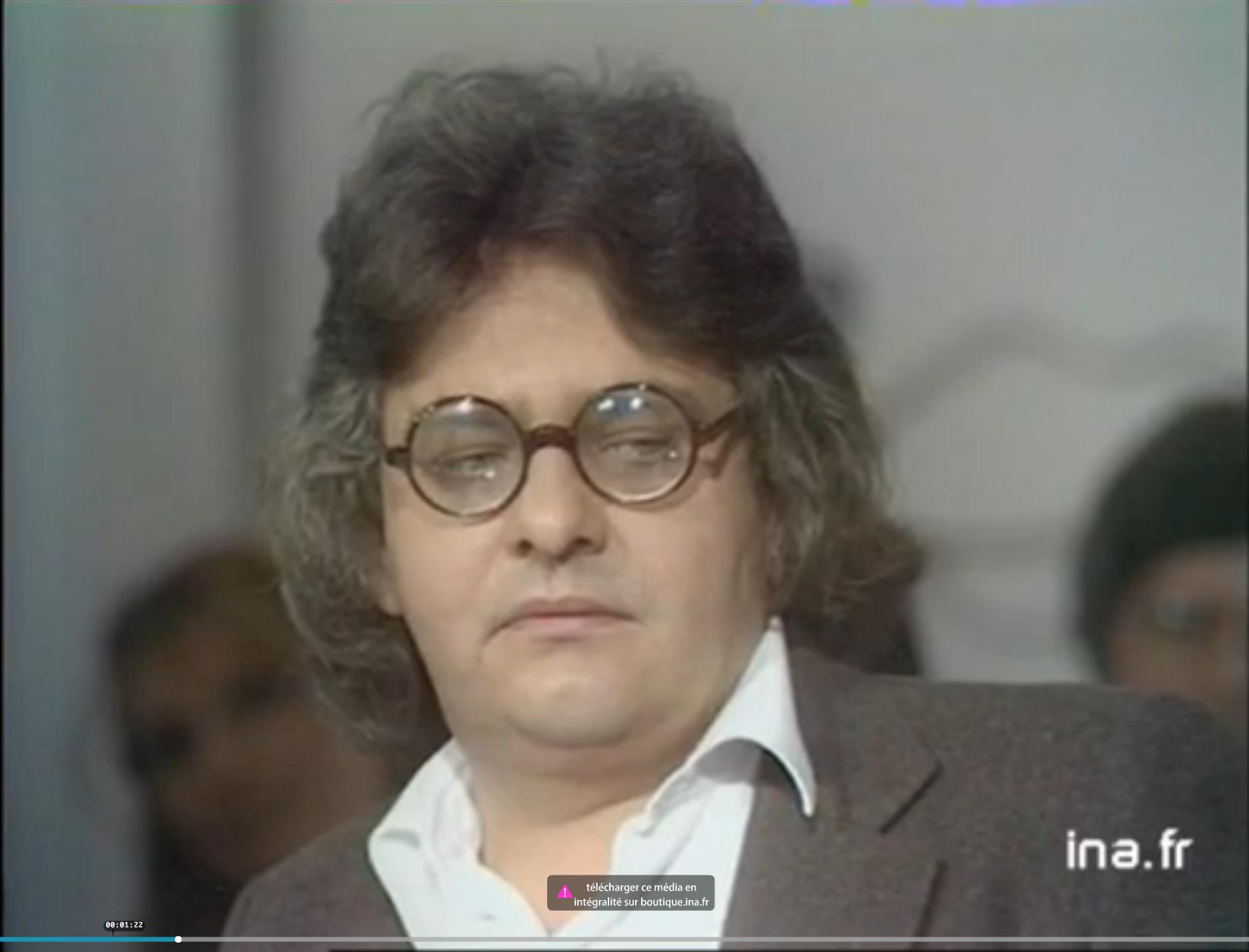 """Jean-Paul Dollé lors d'un enregistrement de """"Bouillon de culture"""" en 1977"""