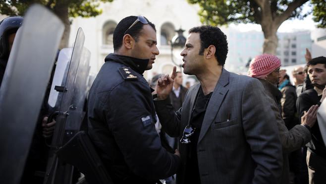 Manifestation à Tunis contre le RCD, 17 janvier 2011 © AFP