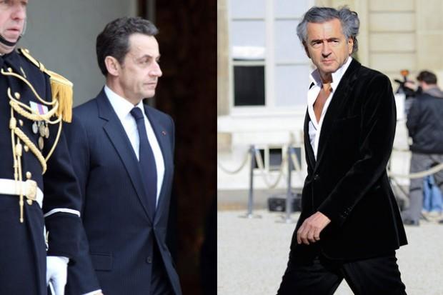 Nicolas Sarkozy a reçu BHL à l'Elysée, en même temps que les représentants des insurgés libyens.  © Montage photos Maxppp