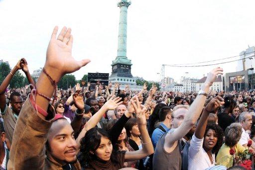 Concert organisé le 10 mai 2011 place de la Bastille pour célébrer l'anniversaire de l'élection de Mitterrand.