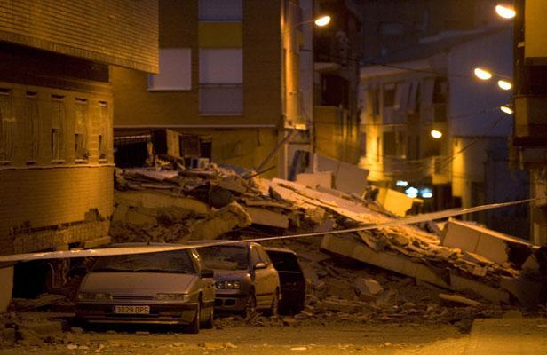 Une rue de Lorca (Sud de l'Espagne) après le séisme.
