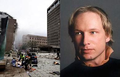 Image de l'attentat d'Oslo et portrait d'Anders Behring Breivik
