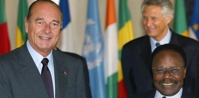 Jacques Chirac, Dominique de Villepin et Omar Bongo