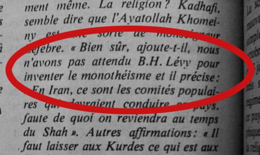 """Détail de la publication où l'on lit les propos de Kadhafi : """"Bien sûr, ajoute-t-il, nous n'avons pas attendu B. H. Lévy pour inventer le monothéisme"""""""