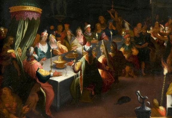 « Le Festin de Balthazar », Ecole anversoise du début du XVIIe siècle