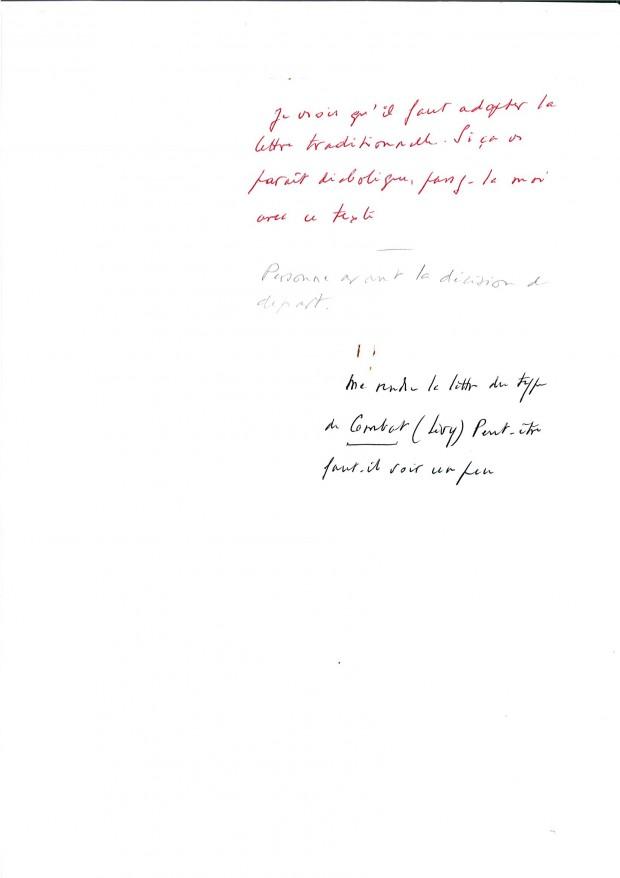 Notes d'André Malraux sur la lettre de Bernard-Henri Lévy