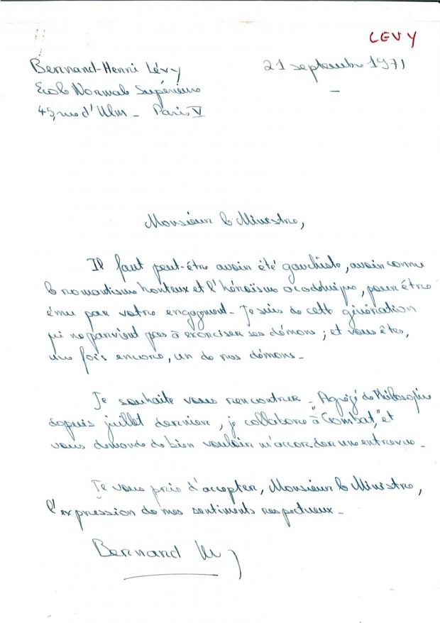 La lettre de Bernard-Henri Lévy à André Malraux. Le 21 septembre 1971.