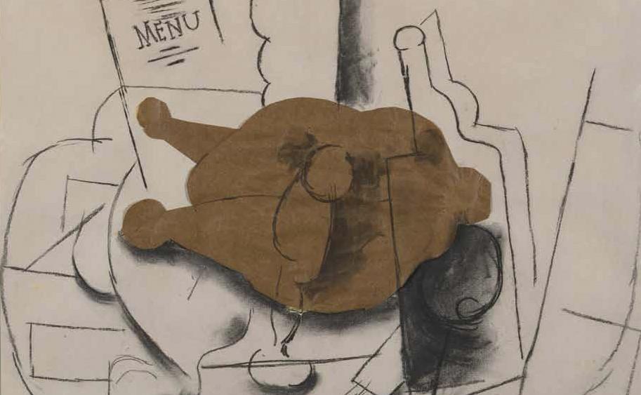 Poulet, couteau, verre, bouteille », Pablo Picasso