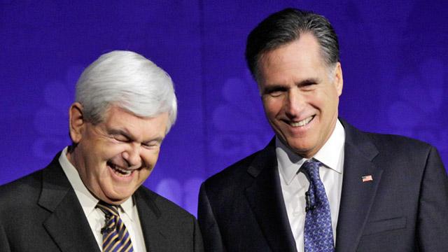 Newt Gingrich et Mitt Romney