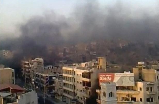 Vue d'immeubles à Hama en Syrie