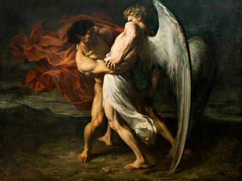 La lutte de Jacob avec l'Ange par Alexandre Louis Leloir