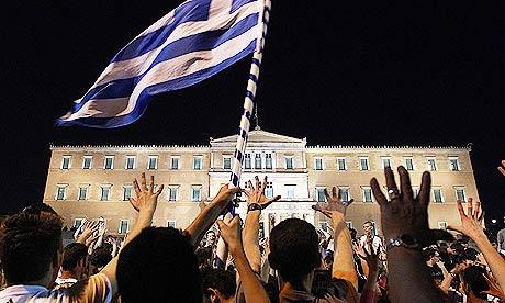 Rassemblement devant le parlement d'Athènes